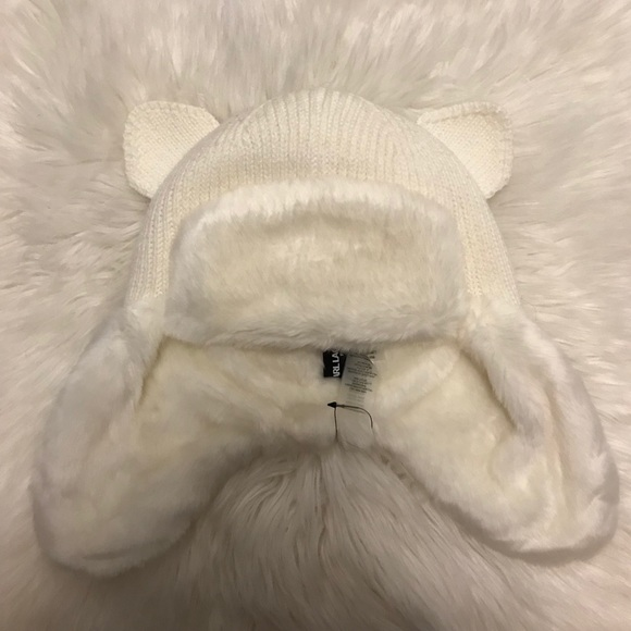 7dbbb37ec4c NWT Karl Lagerfeld Faux Fur Kitty Trapper Hat